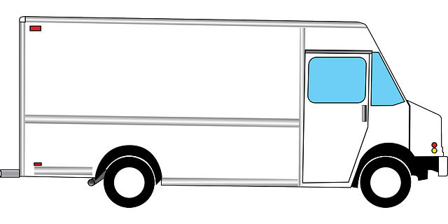 kreslená bílá dodávka