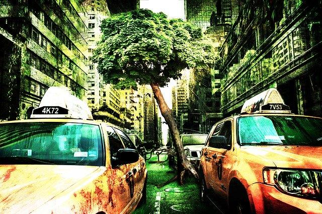 taxi v ulici